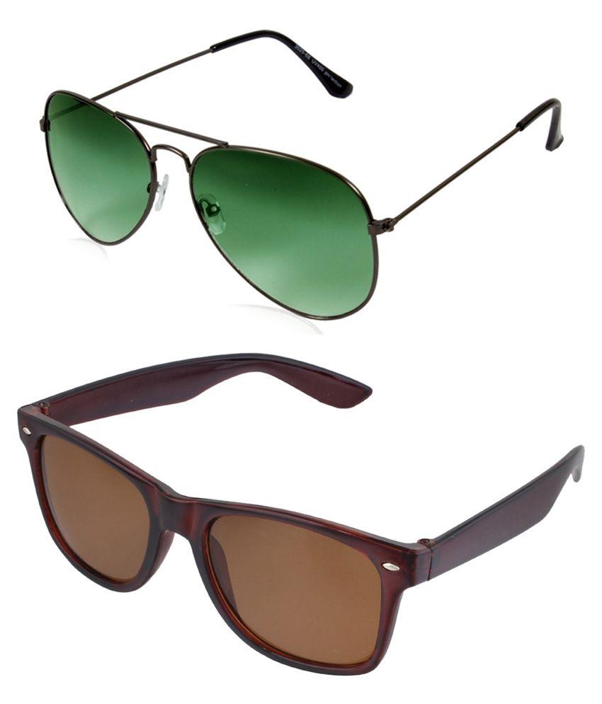 Prime Club Green Aviator & Brown Wayfarer Sunglasses ( Buy 1 Get 1)