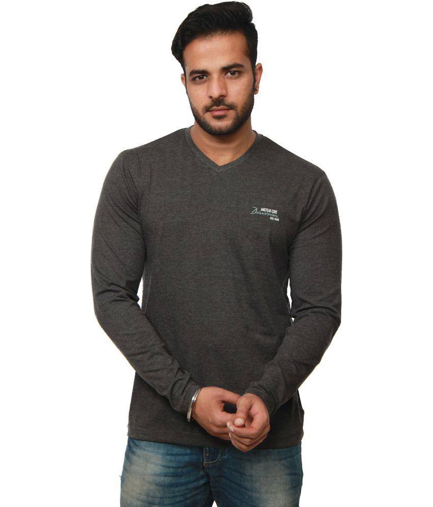 Amstead Gray Cotton Full Sleeves V-Neck T-Shirt
