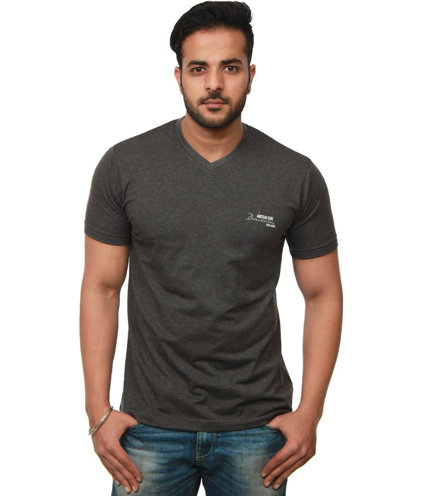 Amstead Gray Cotton Half Sleeves V-Neck T-Shirt