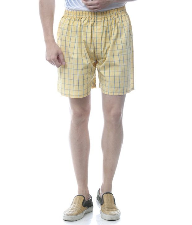 Yuvi Yellow Cotton Checked Shorts