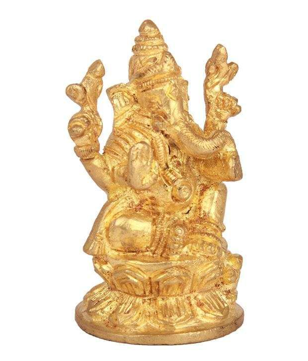 Adaa Golden Brass Ganesha Idol