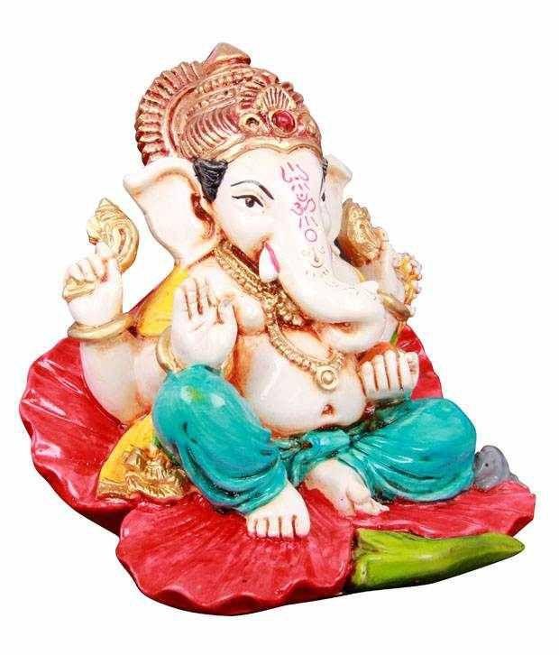 Adaa Red Polyresin Ganesha Idol