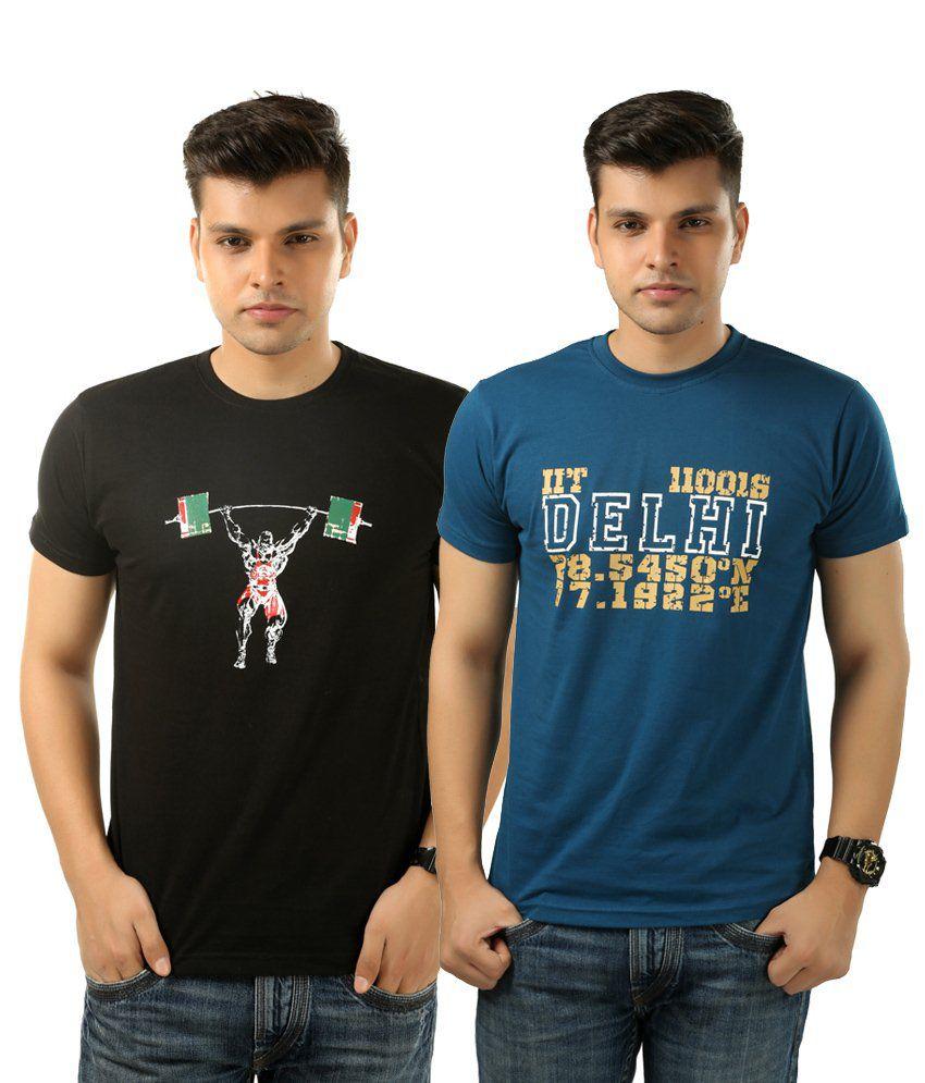 Posh 7 Adorable Combo Of 2 Blue & Black T Shirts For Men