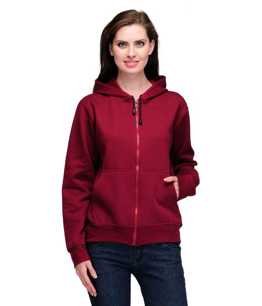 Scott International Maroon Poly Cotton Full Sleeve Hooded Sweat Shirt With Zip