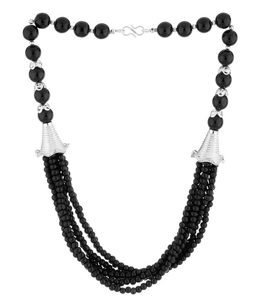 Voylla Cool & Chic Pretty Black Beaded Short Necklace