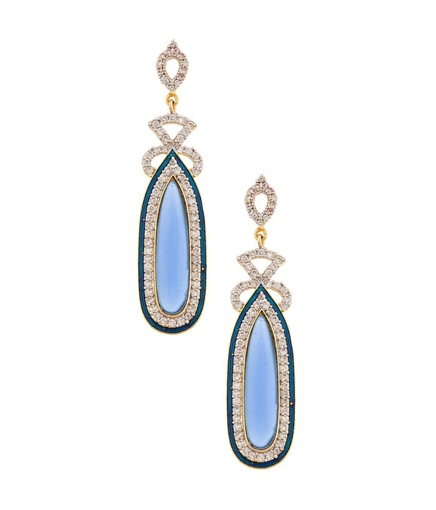 Voylla Pair Of Danglers With CZ & Flirty Blue Geometry Drop