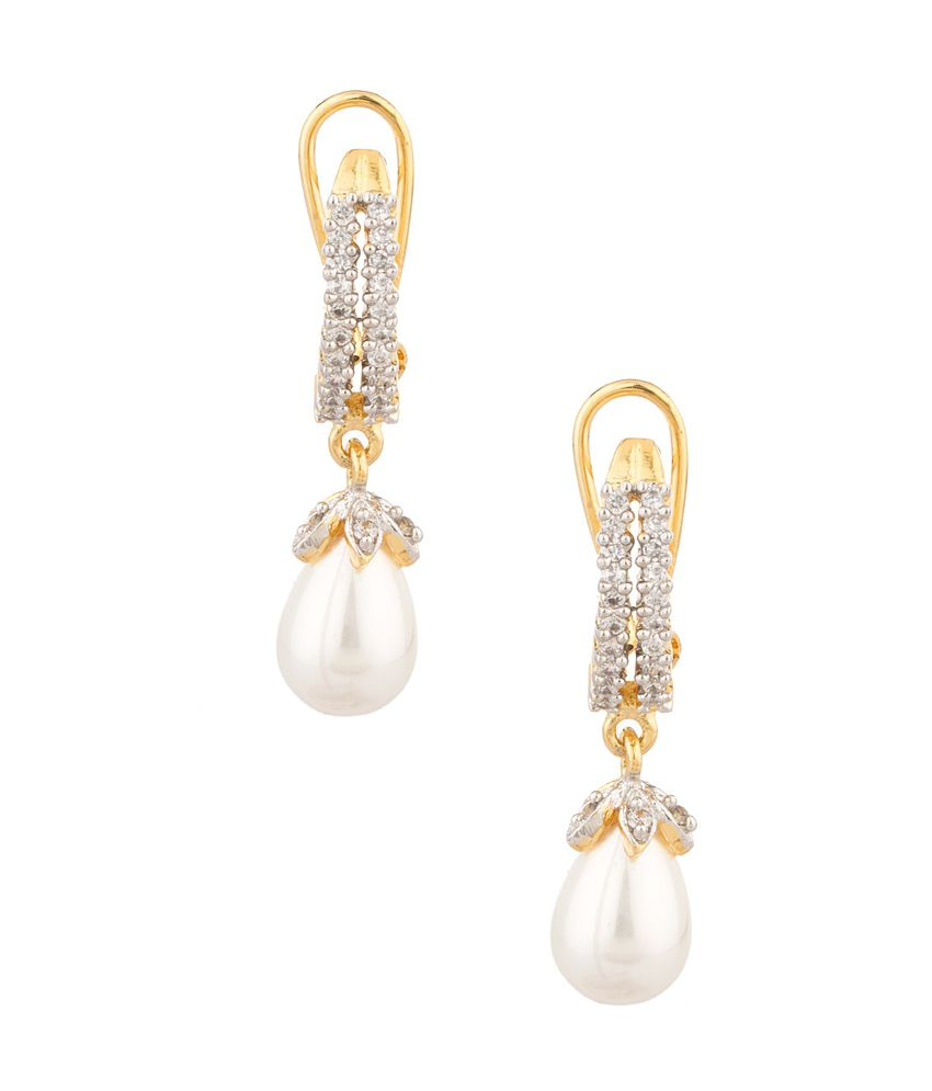 Voylla Pretty Gold Tone Designer Earrings With CZ & Pearl Bead Drop