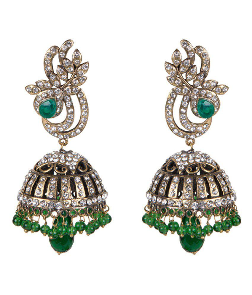 Taj Pearl Antique Yellow Victorian Jhumki Earrings