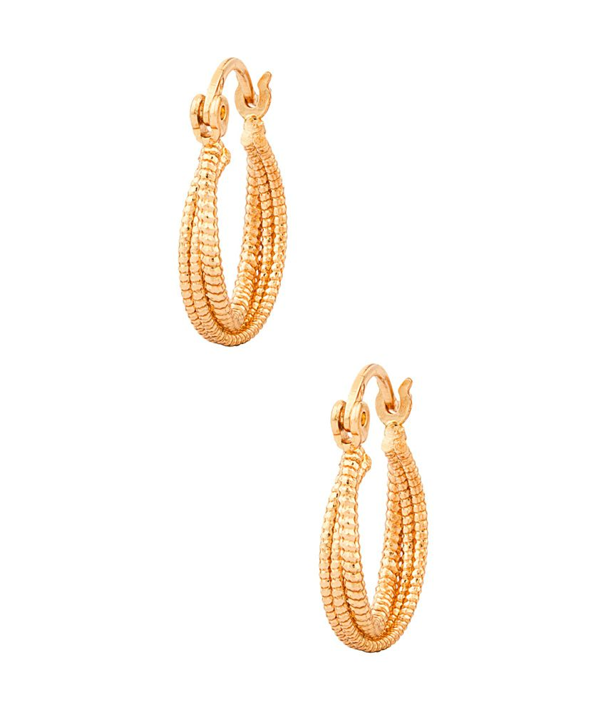 Voylla Rose Gold Tone Textured Hoops