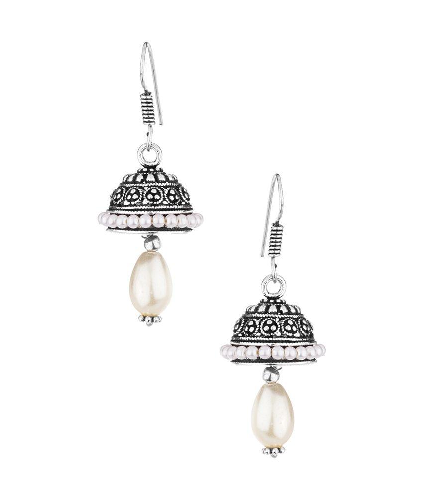 Voylla White Pearl Bead Drop Oxidized Jhumki Earrings