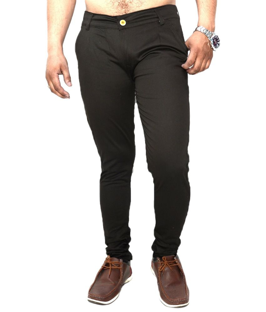 Nation Mania Dark Khaki Slim Fit Chinos For Men