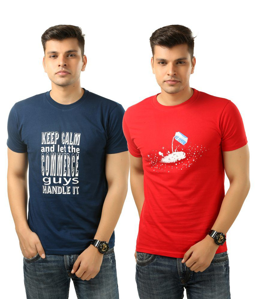 Posh 7 Appealing Combo Of 2 Red & Blue Printed T Shirts For Men
