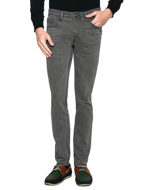 V Dot Gray Slim Fit Jeans