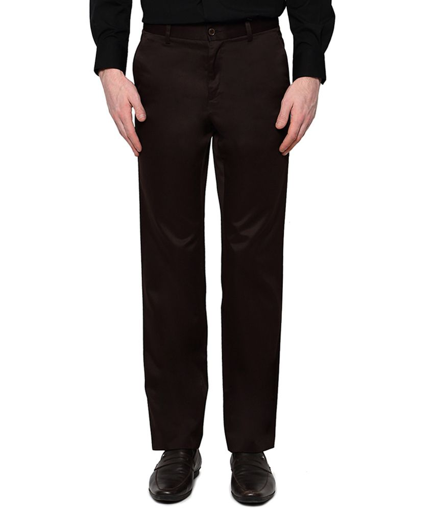 Van Heusen Brown Flat Front Trousers