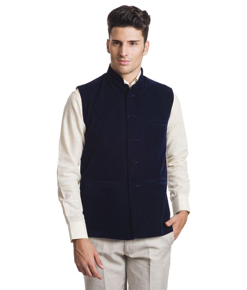 Wintage Royal Navy Blue Velvet Waistcoat