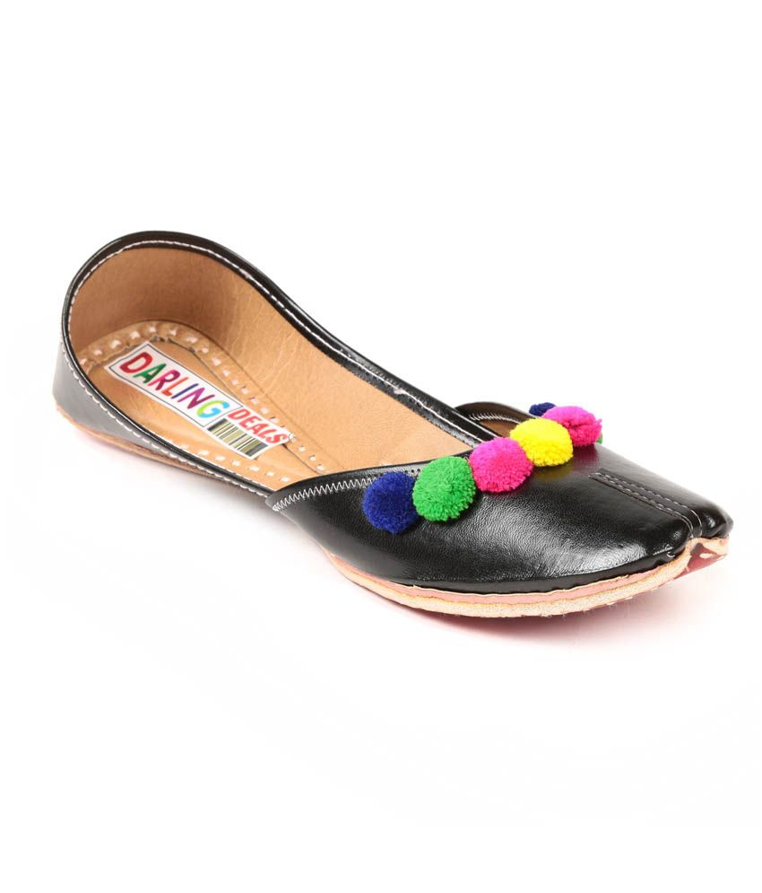 Darling Deals Black Faux Leather Round Toe Jutti