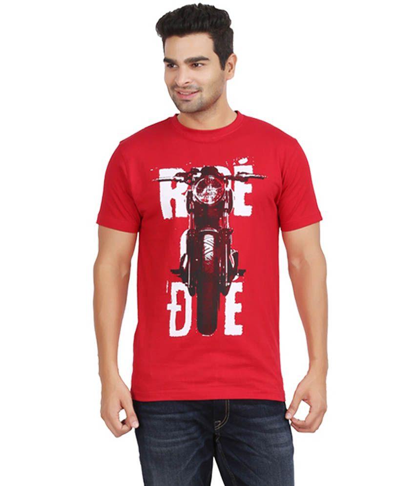 kryo Red Cotton Ride or Die Round Neck T-Shirt