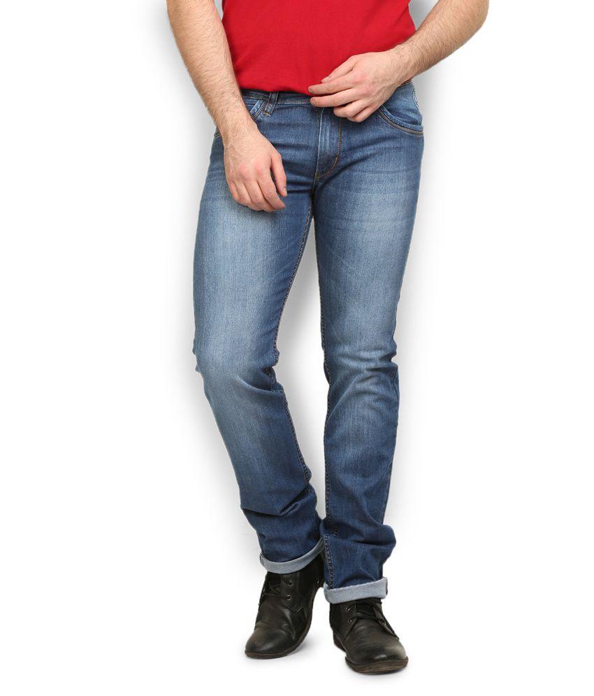 Police Navy Cotton Slim Jeans