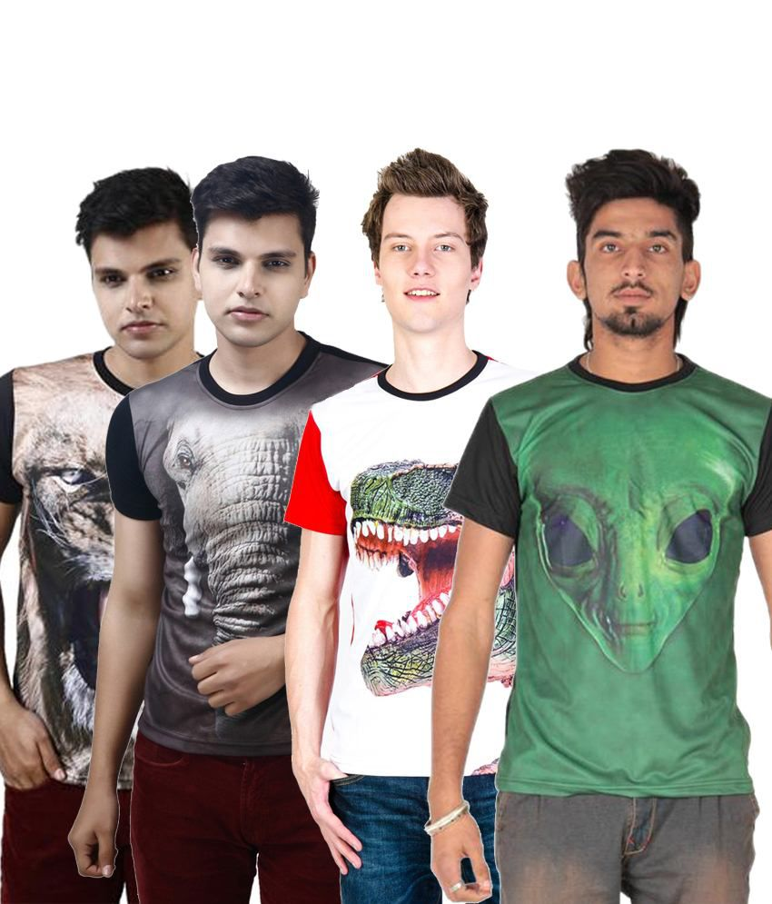 Posh 7 Affordable Multicolour Combo Of 4 3D Printed Half Sleeve T Shirts For Men