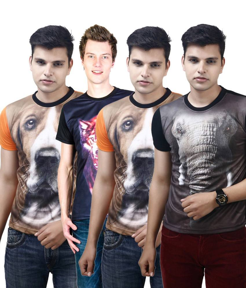 Posh 7 Attractive Multicolour Combo Of 4 3D Printed Custom Fit T Shirts For Men