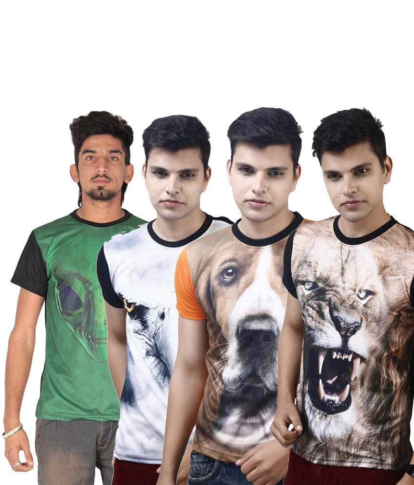 Posh 7 Contemporary Multicolour Combo Of 4 3D Printed Casual T Shirts For Men