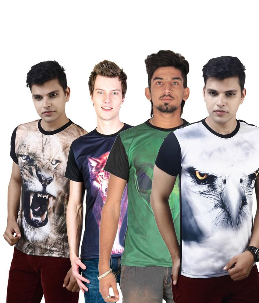 Posh 7 Royal Multicolour Combo Of 4 3D Printed Casual T Shirts For Men