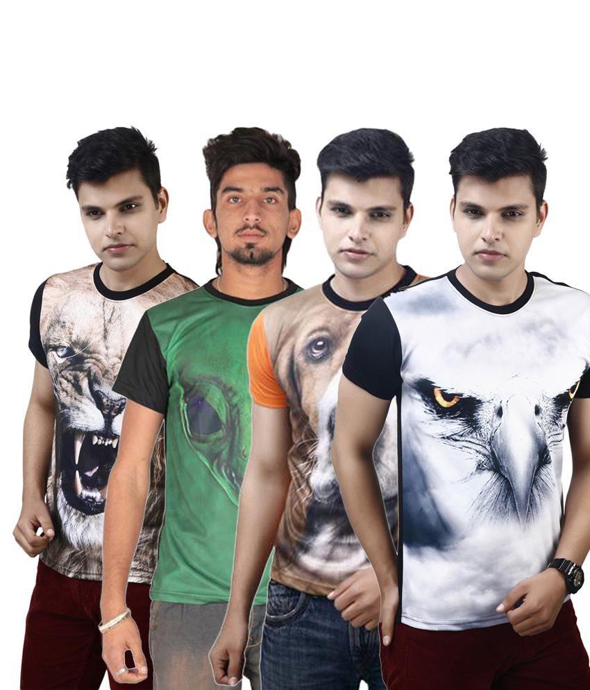 Posh 7 Subtle Multicolour Combo Of 4 3D Printed Casual T Shirts For Men