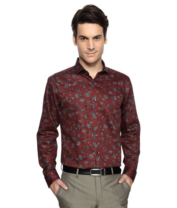 f555168c488b8a Van Heusen V Dot Maroon Printed Slim Fit Shirt - Buy Van Heusen V Dot  Maroon Printed Slim Fit Shirt Online at Best Prices in India on Snapdeal