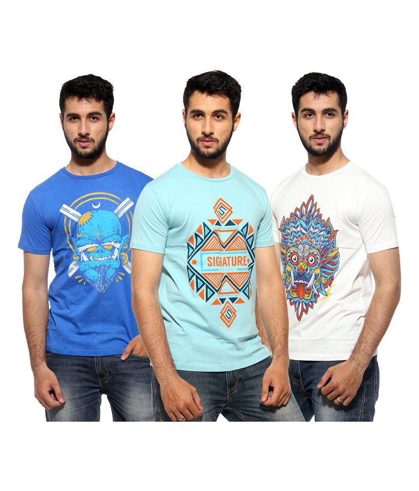 Dorzy Navy,Blue and White Cotton Round Neck Half Sleeves Men T-Shirts - Pack of 3