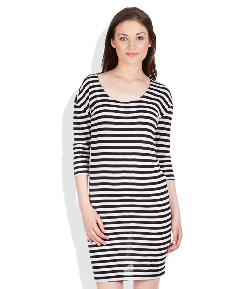 96d7c2589f3 ONLY Black   White Striped Sheath Dress - Buy ONLY Black   White Striped  Sheath Dress Online at Best Prices in India on Snapdeal