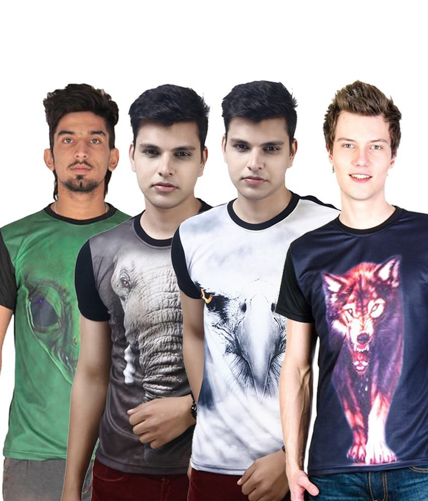 Posh 7 Awesome Multicolour Combo Of 4 3D Printed T Shirts For Men