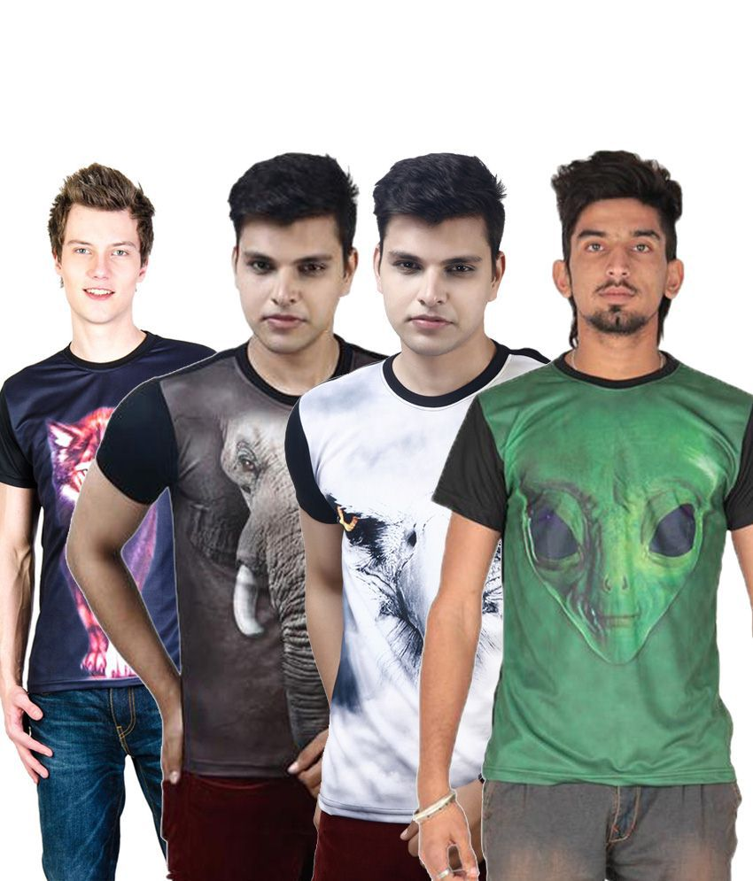 Posh 7 Noteworthy Multicolour Combo Of 4 3D Printed Half Sleeve T Shirts For Men