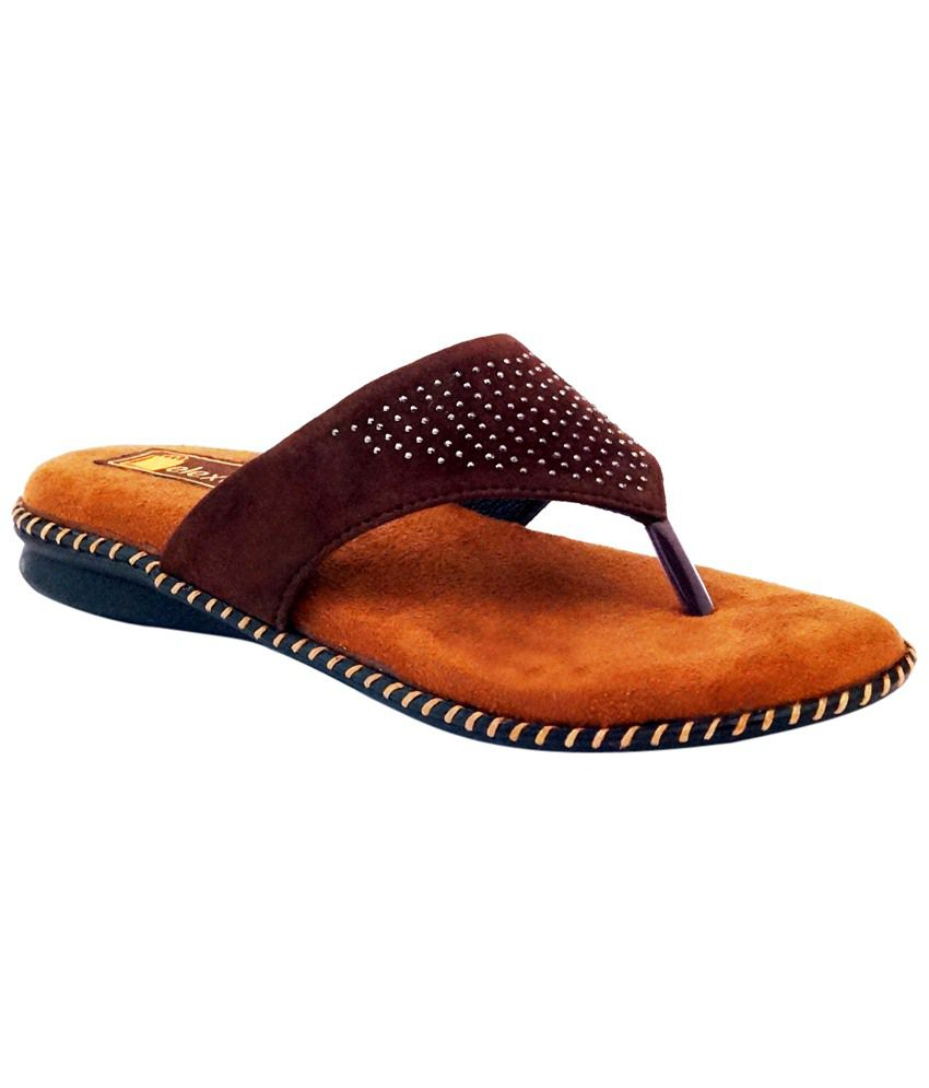 Relexop Brown Leather Slippers