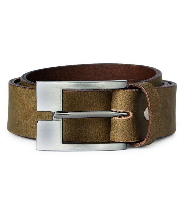 Van HeusenOlive Casual Leather Belt