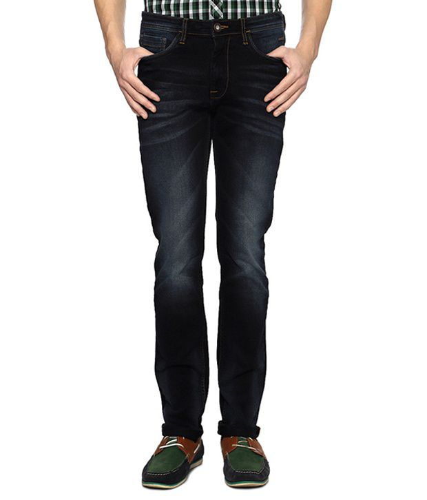 Blue Comfort Fit Dark Washed Jeans