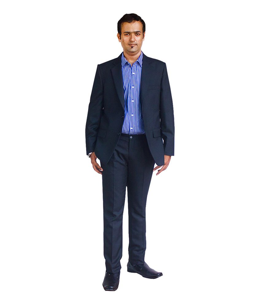 Kinger Navy Solid Rayon Formal Suit