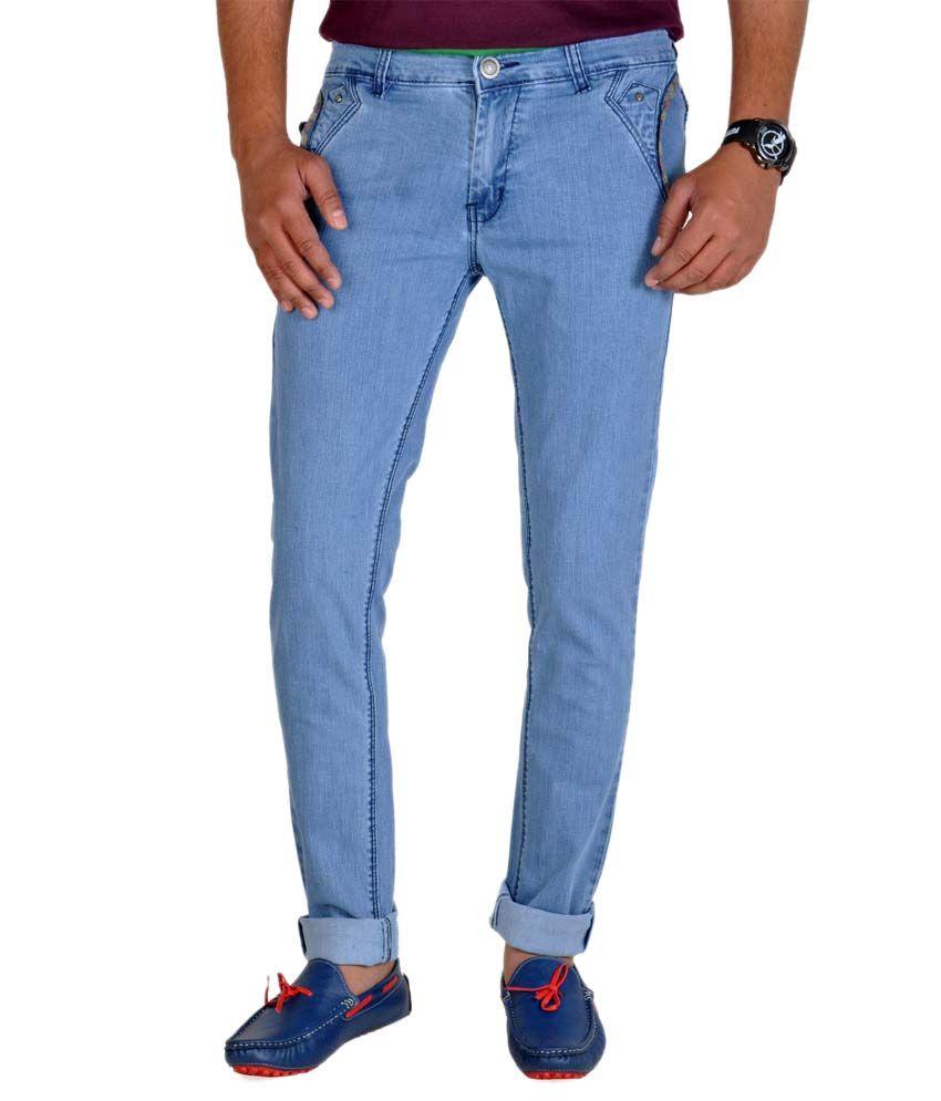 Routeen Men's Casual Wear Light Blue Jeans