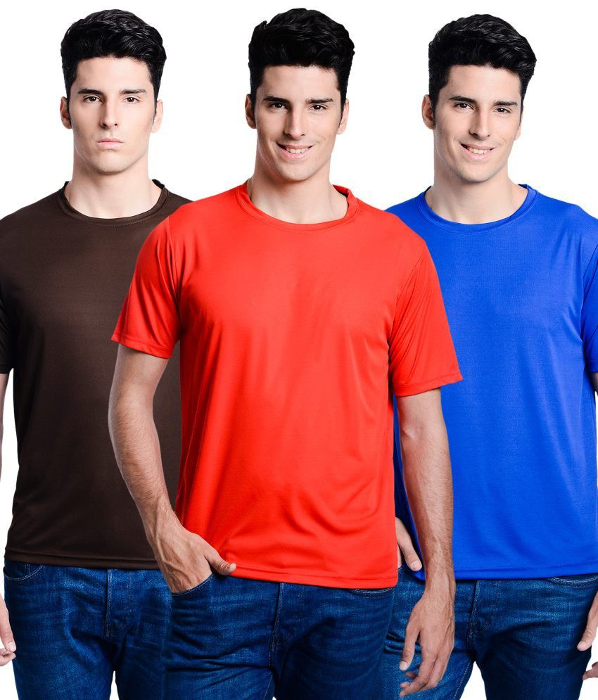 Superjoy Blue Polyster Combo Of 3 Regular Sportswear T-shirts Set