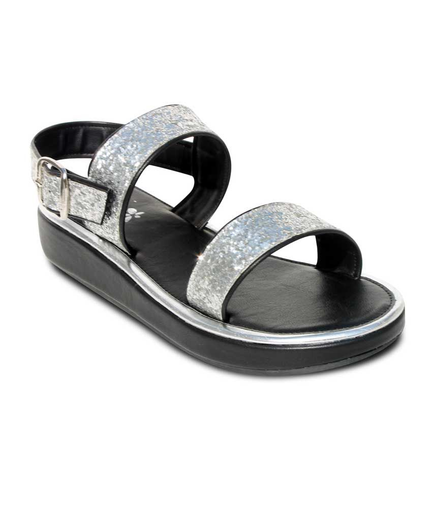 Amica Slexia Silver Faux Leather Open Toe Sandals For