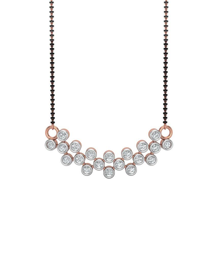 Charu Jewels Pink Gold Self certified Without Chain Diamond Mangalsutra