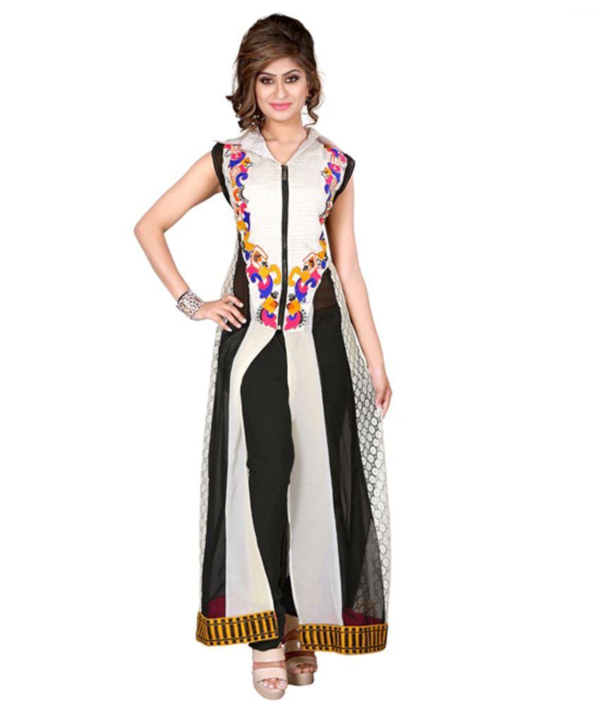 Hari Silk fashion White Pure Georgette Stitched Suit