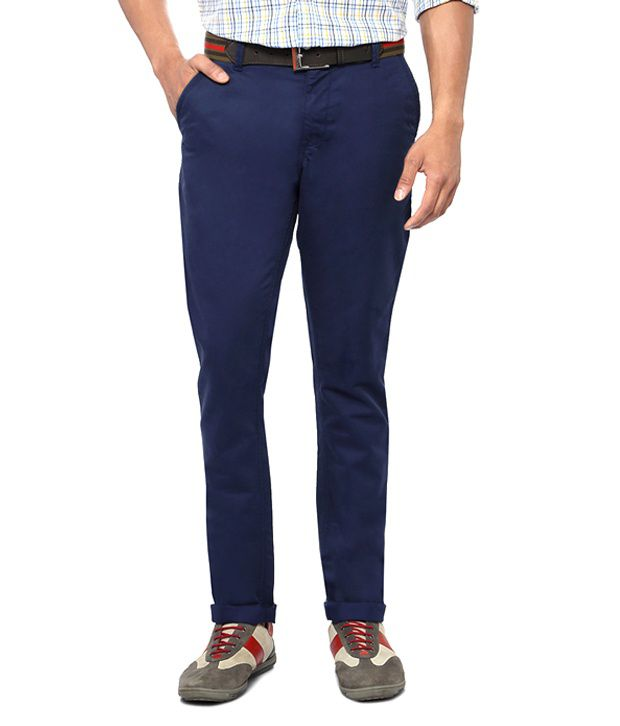 Van Heusen Blue Casual Slim Fit Trousers