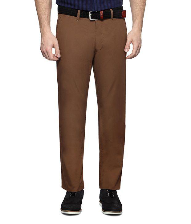 Van Heusen Brown Casual Flat Front Trousers