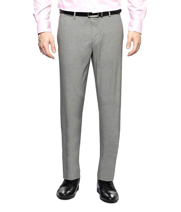 Van Heusen Grey Textured Flat Front Trousers