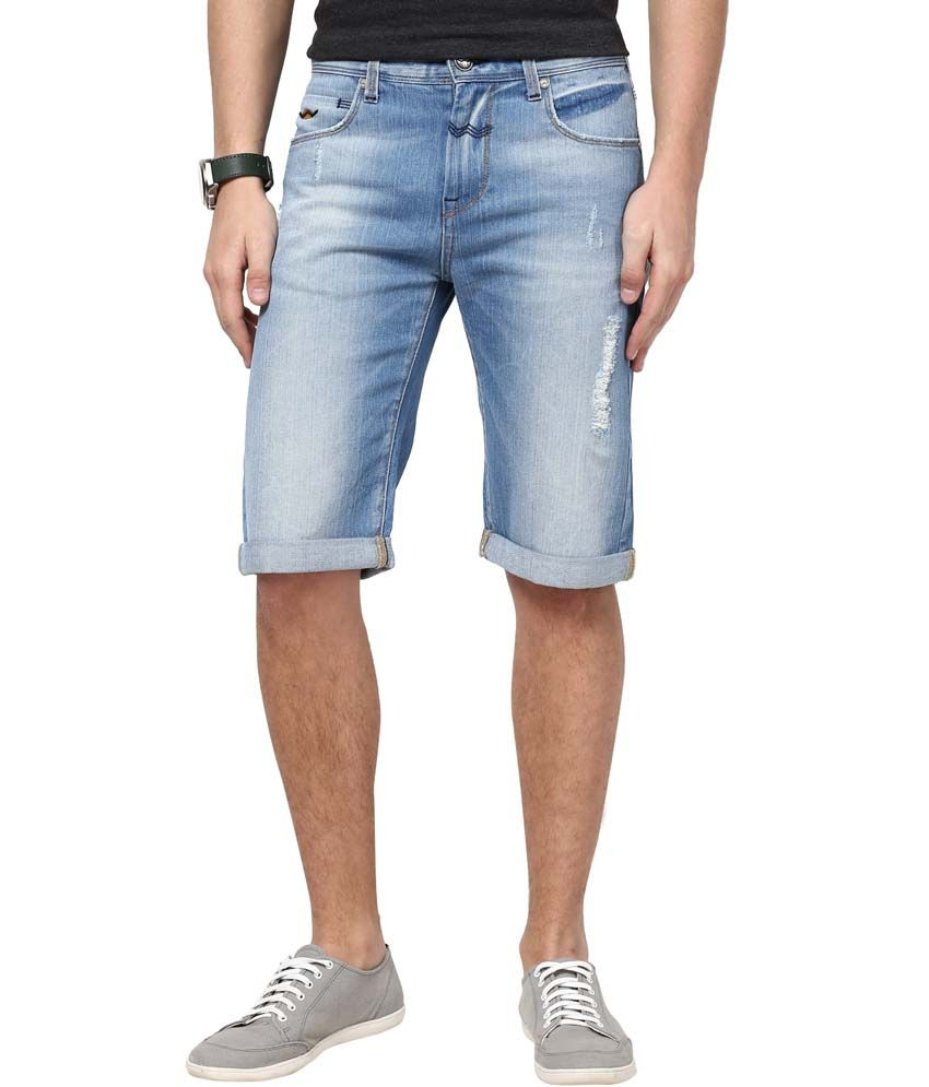 Web Jeans Blue Cotton Shorts