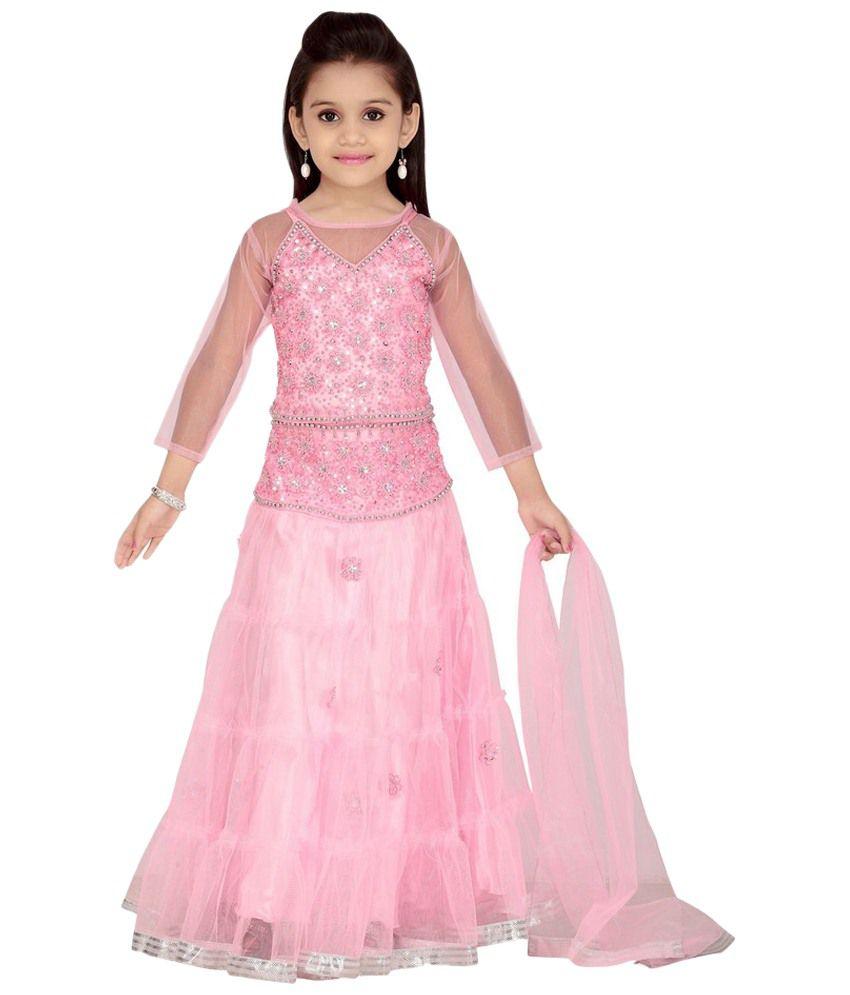 Aarika Light Pink Lehenga Choli With Dupatta For Girls