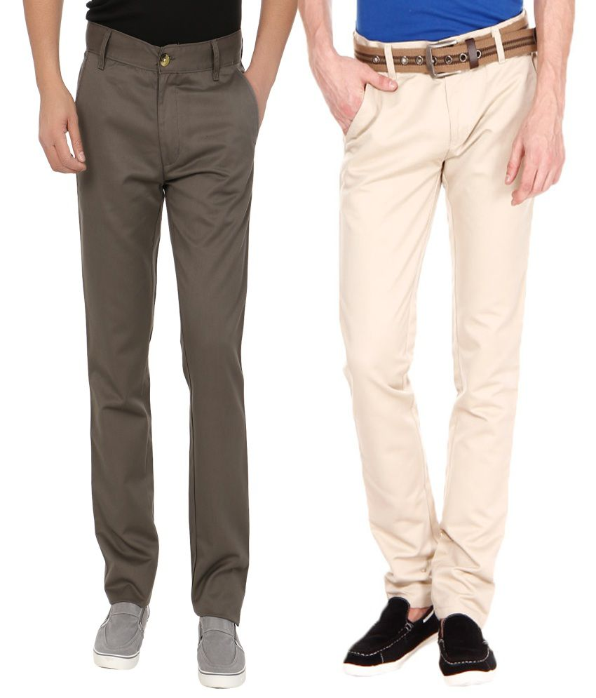 Blimey Beige And Grey Chinos (Combo Of 2)