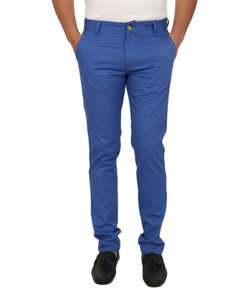 Blimey Royal Blue Slim Fit Cotton Chinos
