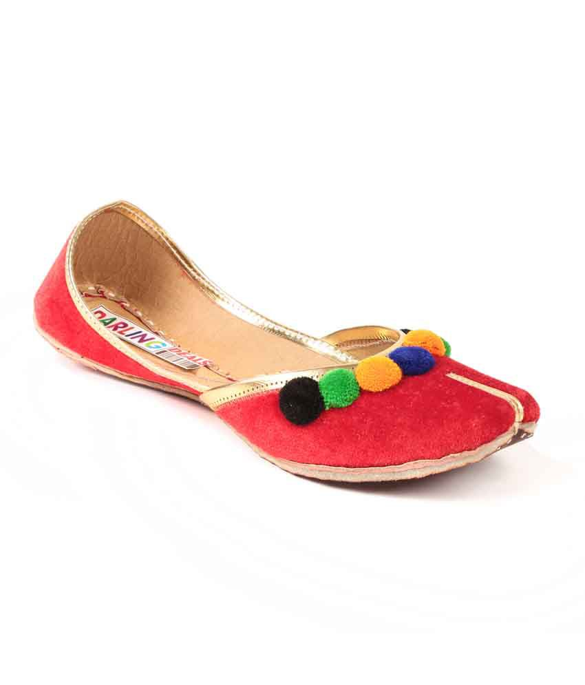 Darling Deals Red Faux Leather Round Toe Flat Jutti