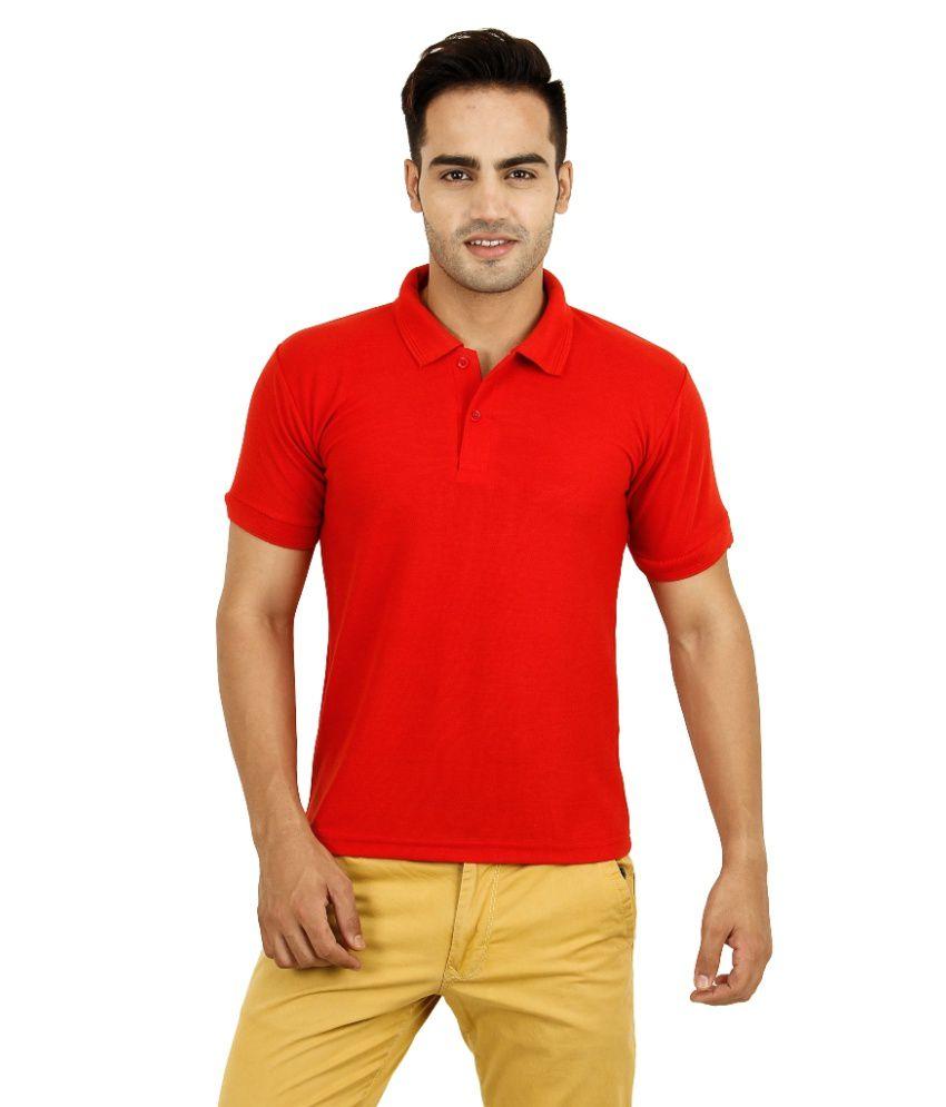 plain polo red cotton blend half polo tshirts for men
